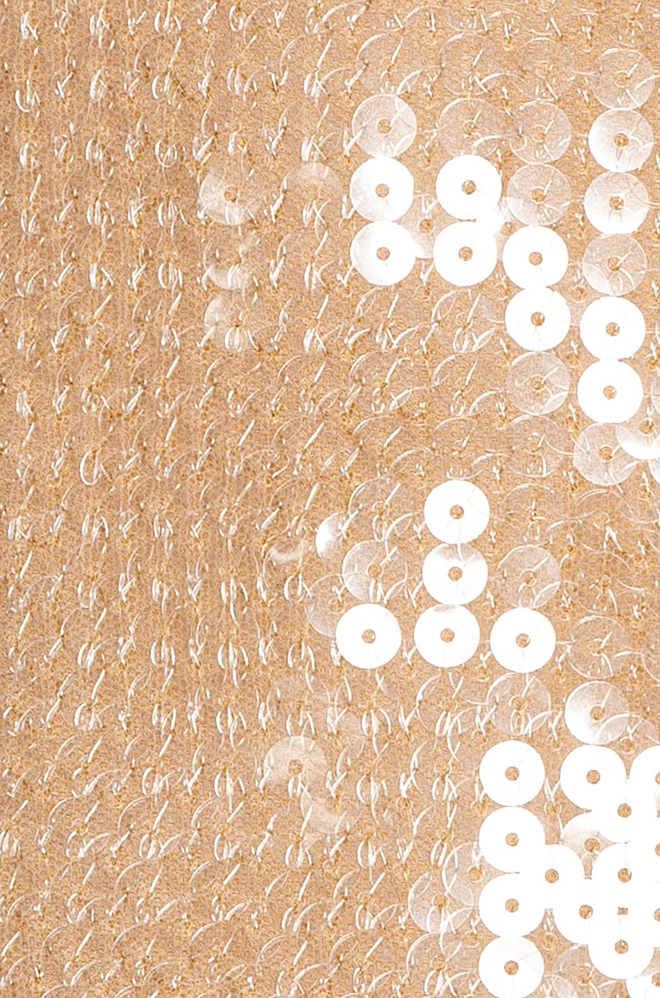 Image 5 of David Koma Feather Trim Sequin Long Sleeve Dress in Beige