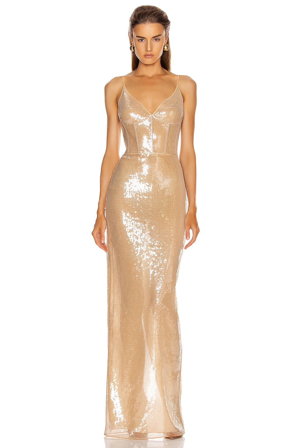 Image 1 of David Koma Sequins Bra Detail Gown in Beige