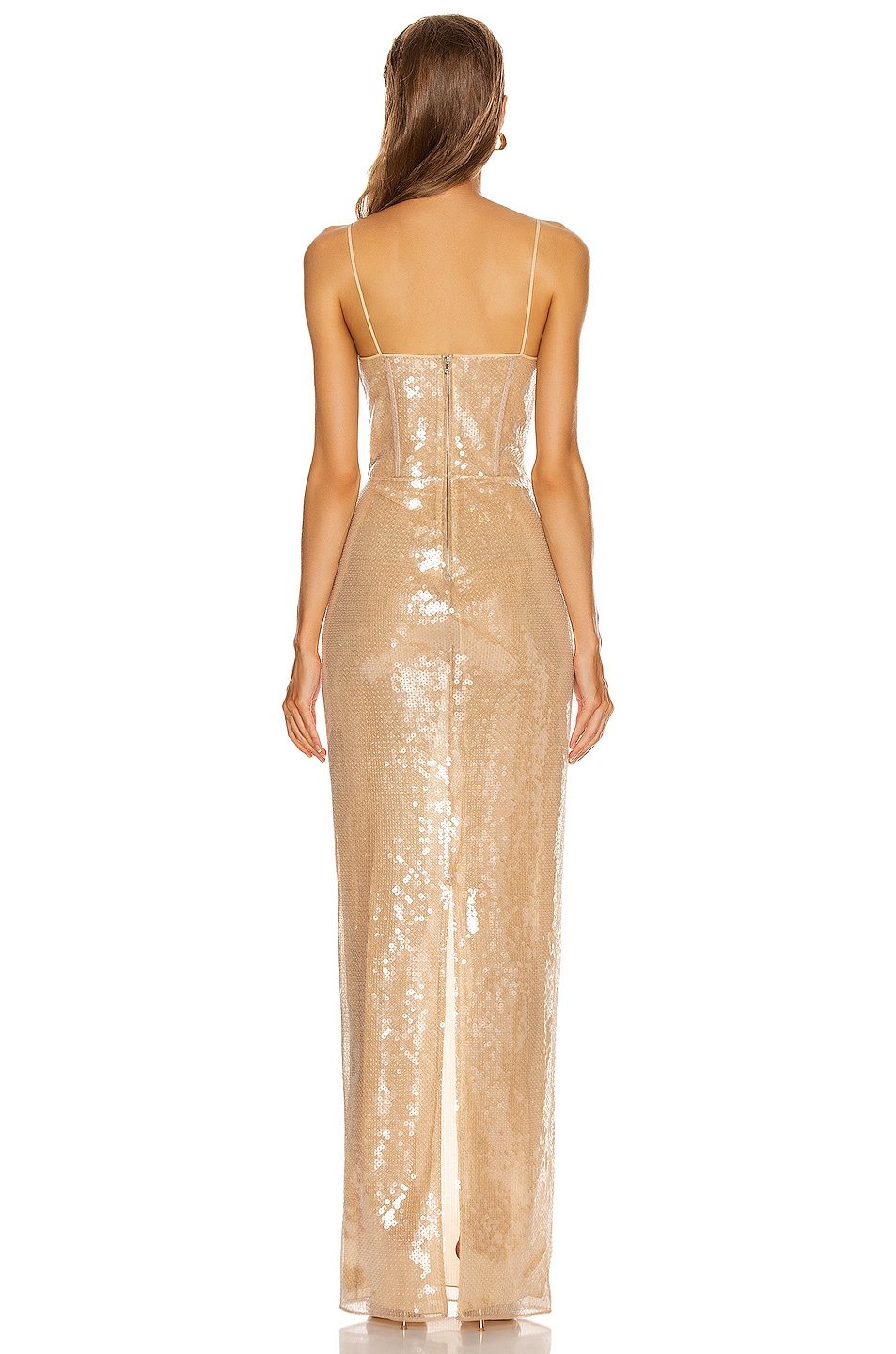 Image 3 of David Koma Sequins Bra Detail Gown in Beige