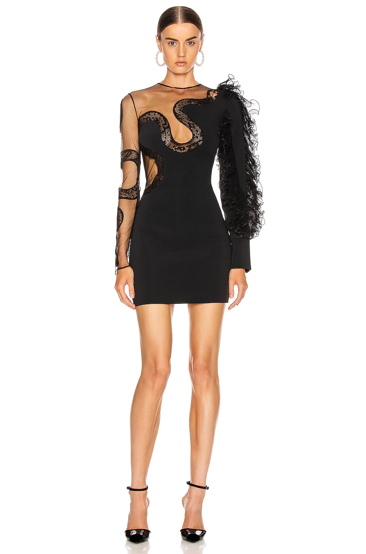 Image 1 of David Koma Ruffle Sleeve Snake Lace Mini Dress in Black