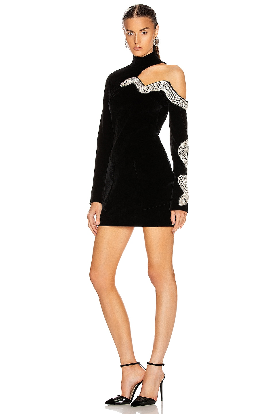 Image 1 of David Koma Snake Embroidered Mini Dress in Black & Silver