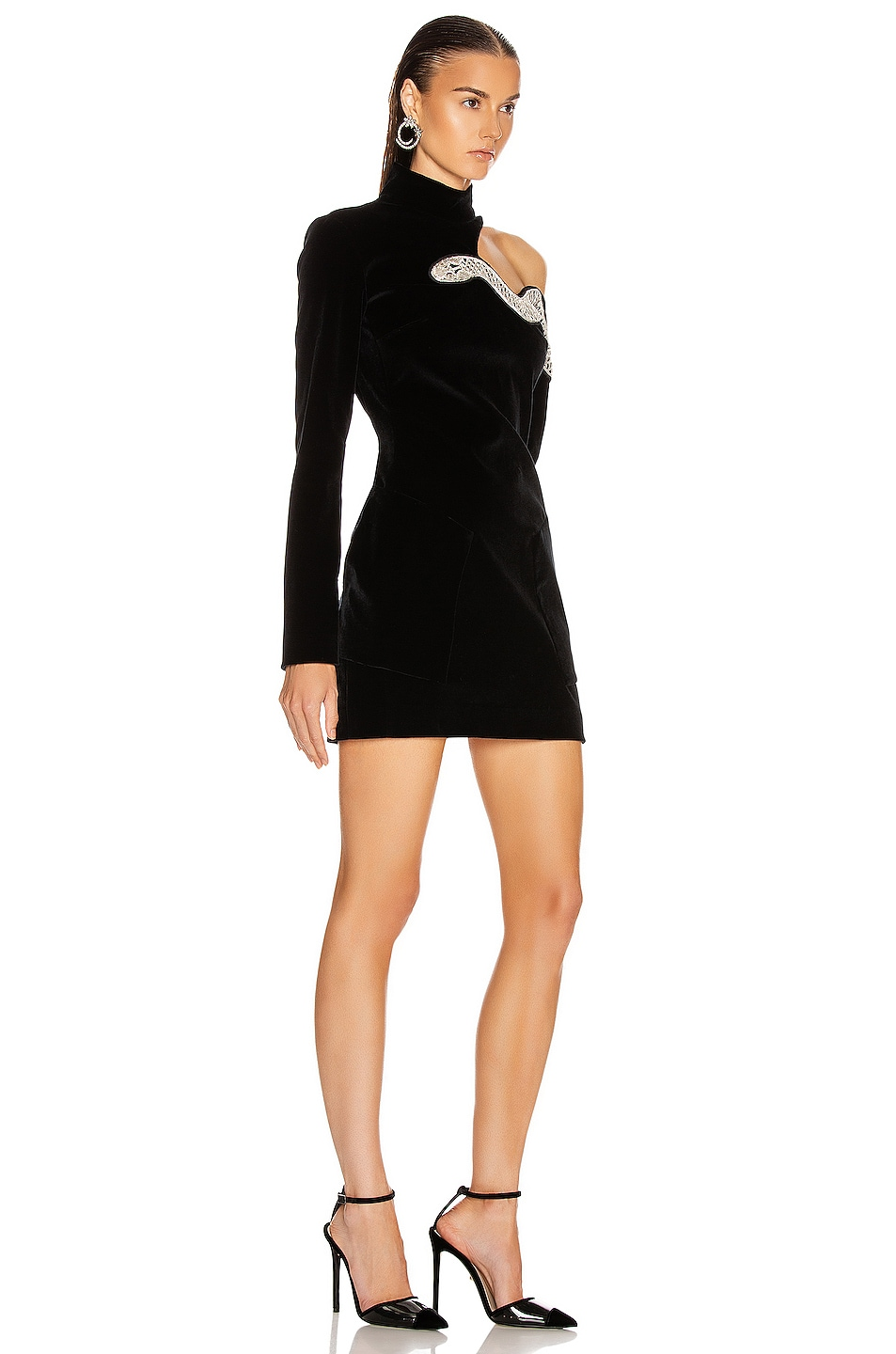 Image 2 of David Koma Snake Embroidered Mini Dress in Black & Silver
