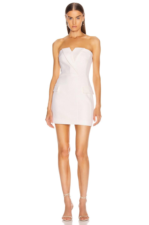 Image 1 of David Koma Tuxedo Tailored Strapless Mini Dress in White
