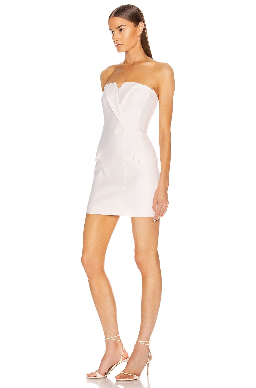 Image 3 of David Koma Tuxedo Tailored Strapless Mini Dress in White