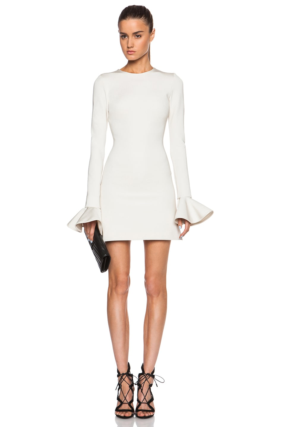 Image 1 of David Koma Peplum Sleeve Mini Dress in Ivory