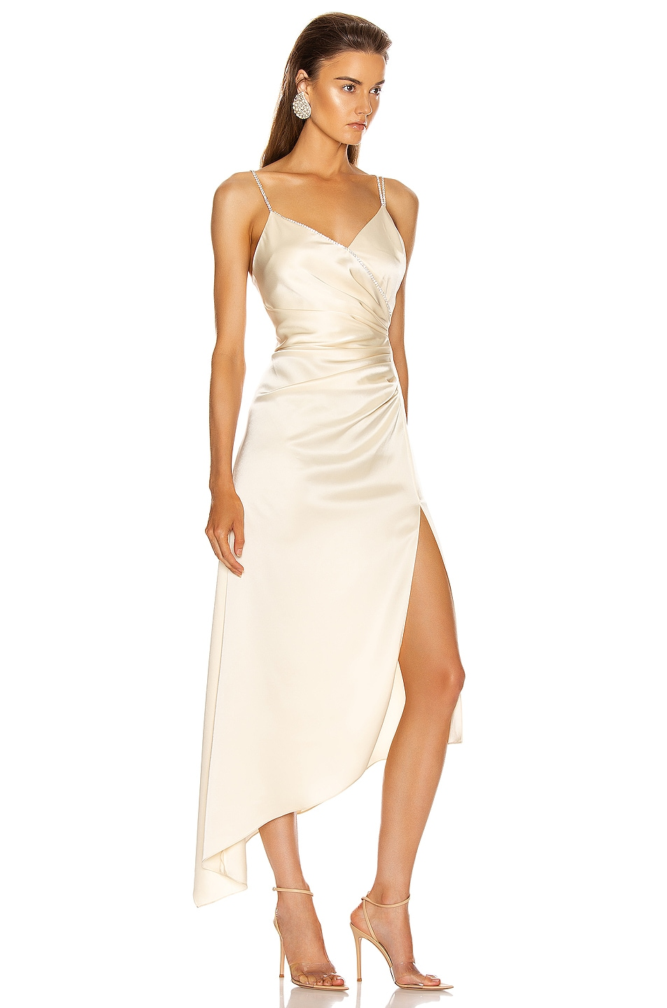Image 2 of David Koma Asymmetric Ruched Cami Dress in Ivory