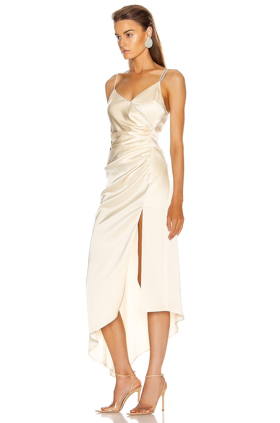 Image 3 of David Koma Asymmetric Ruched Cami Dress in Ivory