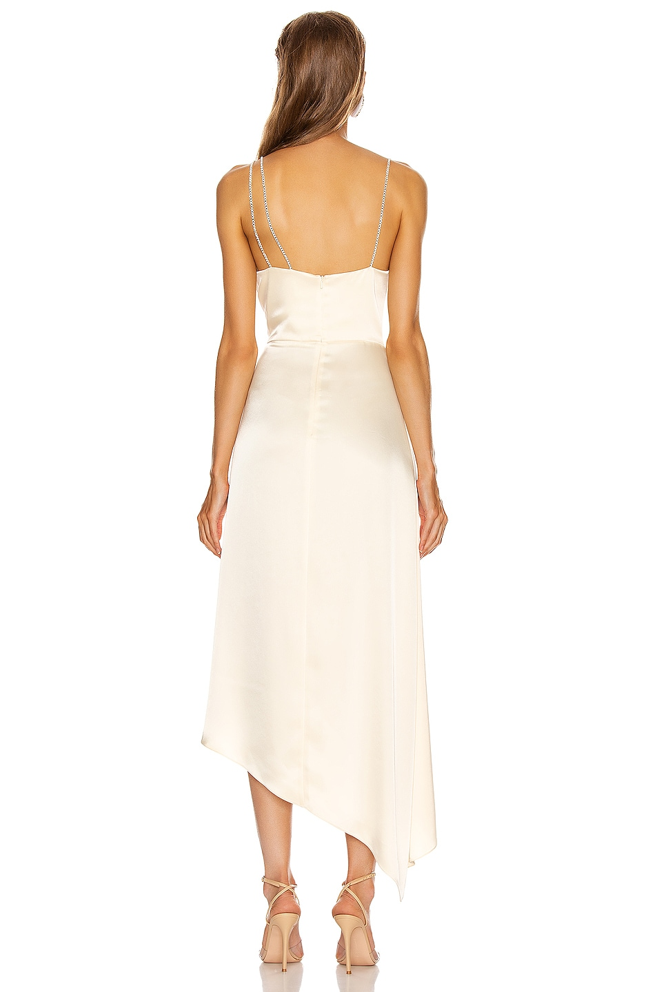 Image 4 of David Koma Asymmetric Ruched Cami Dress in Ivory