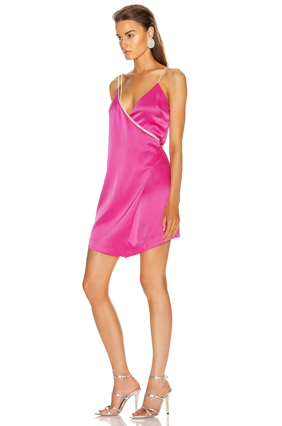 Image 3 of David Koma Crystal Chain Strap Wrap Mini Dress in Fuchsia & Silver