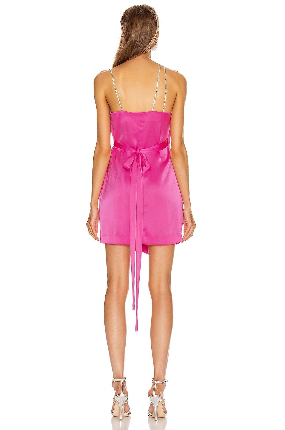 Image 4 of David Koma Crystal Chain Strap Wrap Mini Dress in Fuchsia & Silver
