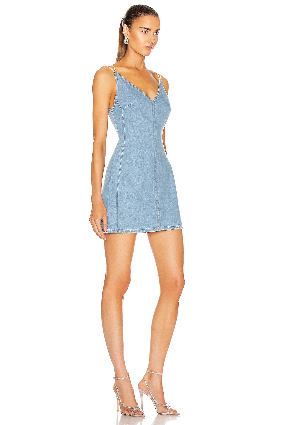 Image 2 of David Koma Crystal Chain Cami Dress in Light Blue & Silver