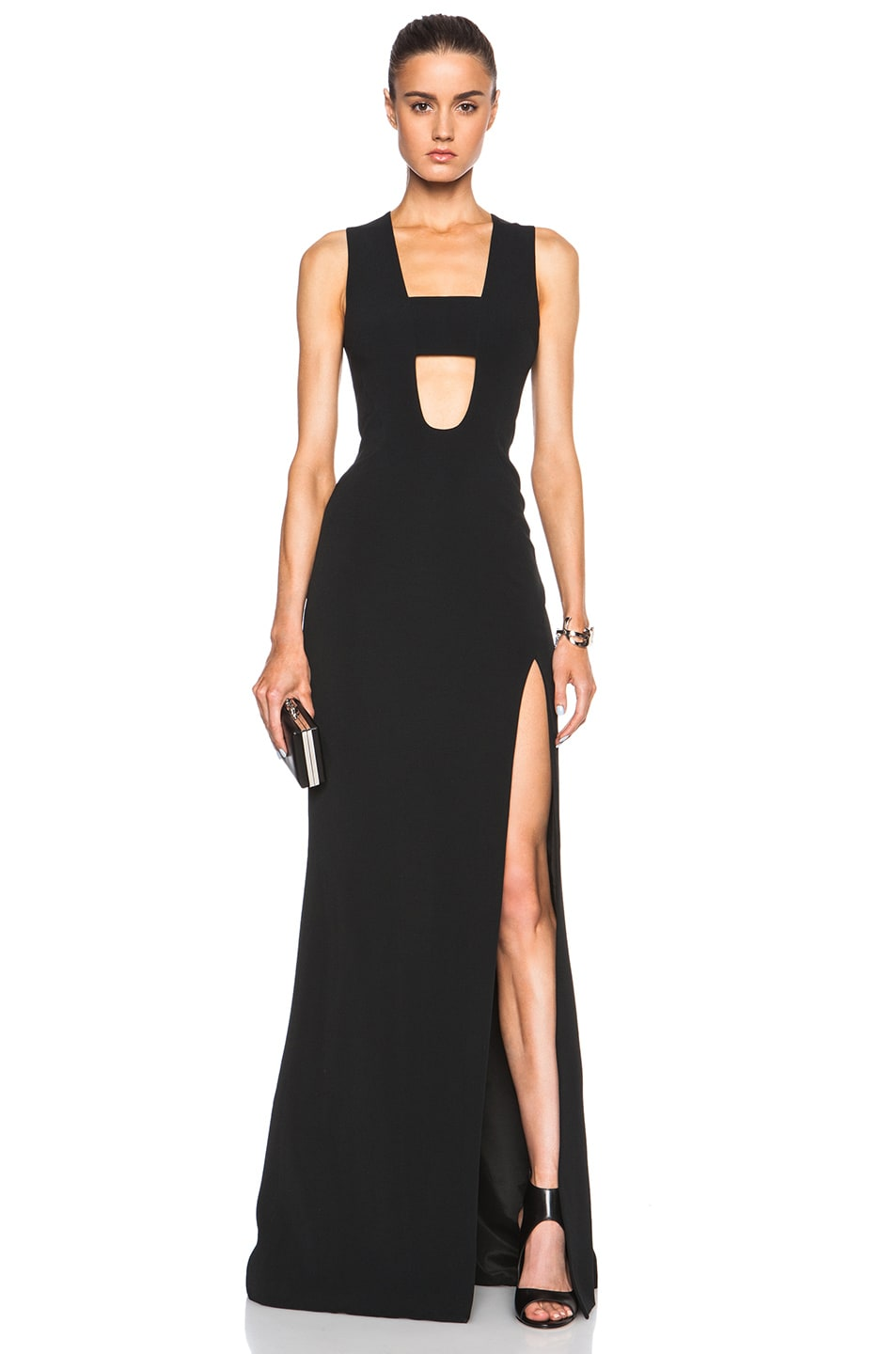 Image 1 of David Koma Low Cut Chest Strap Gown in Black