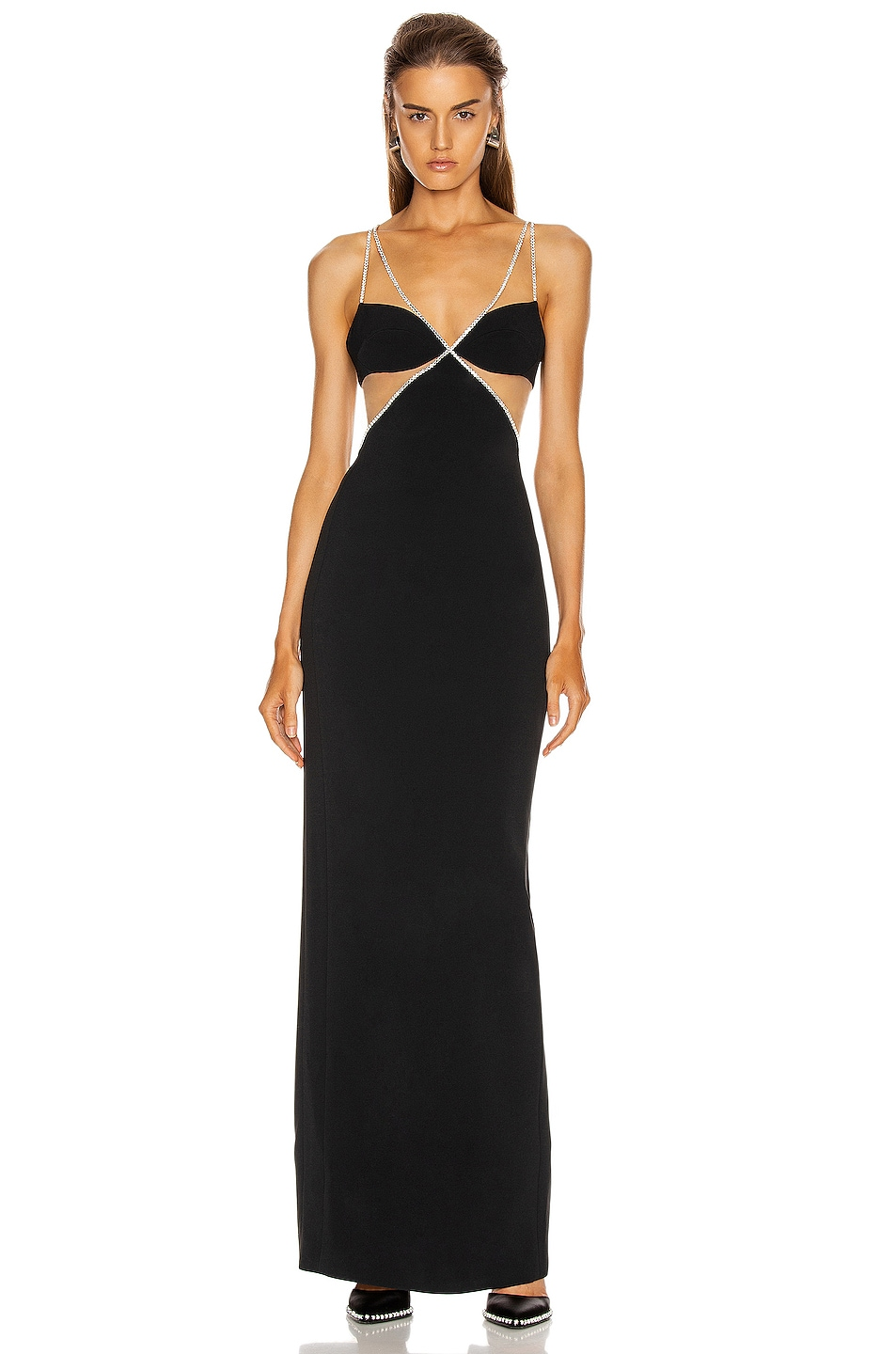 Image 1 of David Koma Crystal Chain Trim Bra Detail Gown in Black & Silver
