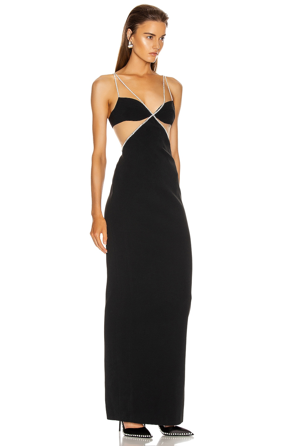 Image 2 of David Koma Crystal Chain Trim Bra Detail Gown in Black & Silver