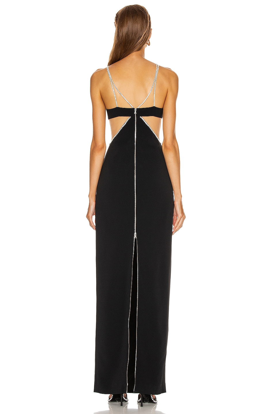 Image 3 of David Koma Crystal Chain Trim Bra Detail Gown in Black & Silver