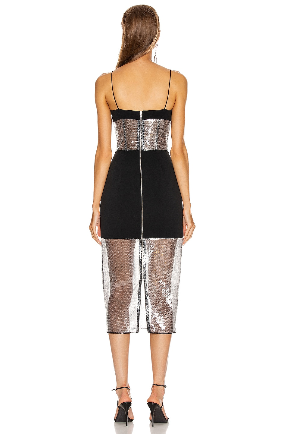 Image 3 of David Koma Sequin Panel Pencil Dress in Black & Black