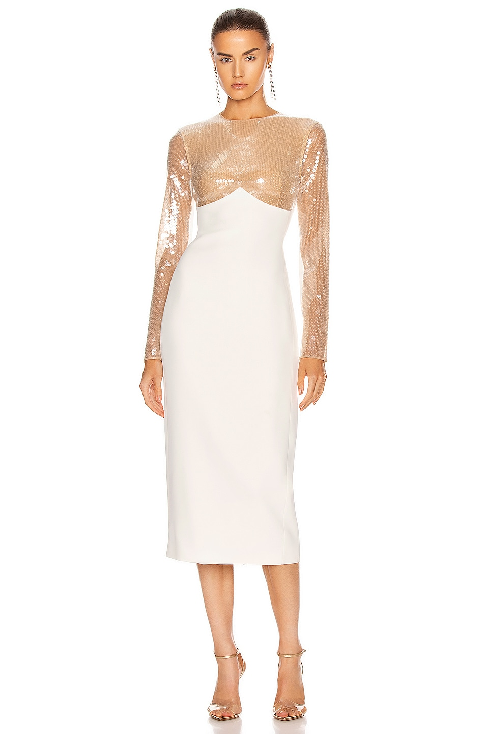 Image 1 of David Koma Sequin Empire Long Sleeve Midi Dress in Beige & White