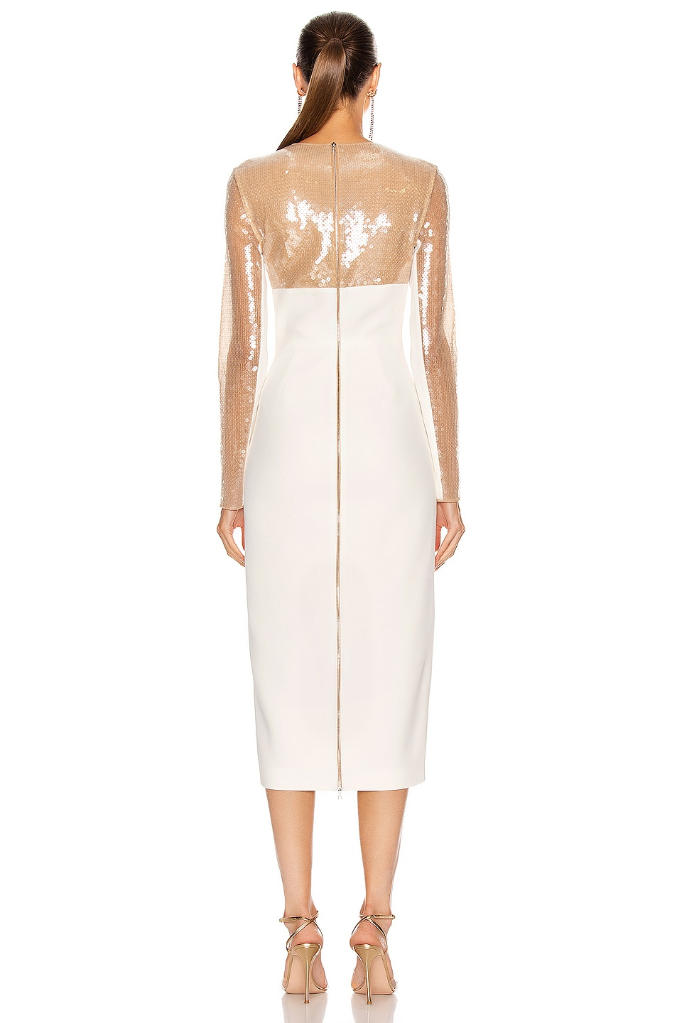 Image 3 of David Koma Sequin Empire Long Sleeve Midi Dress in Beige & White