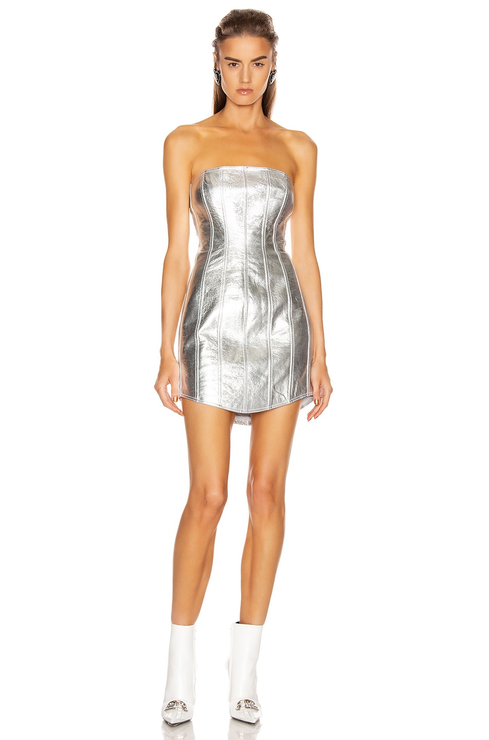 Image 1 of David Koma Corset Leather Strapless Dress in Silver