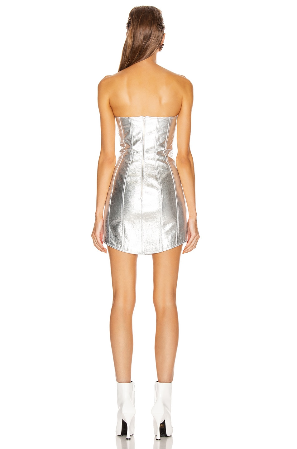 Image 3 of David Koma Corset Leather Strapless Dress in Silver