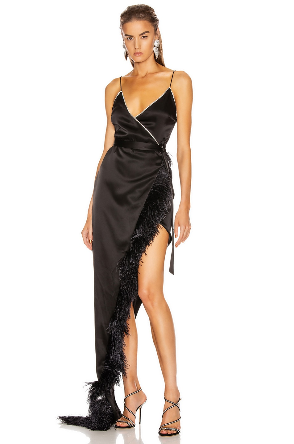 Image 1 of David Koma Crystal & Feather Asymmetric Wrap Gown in Black