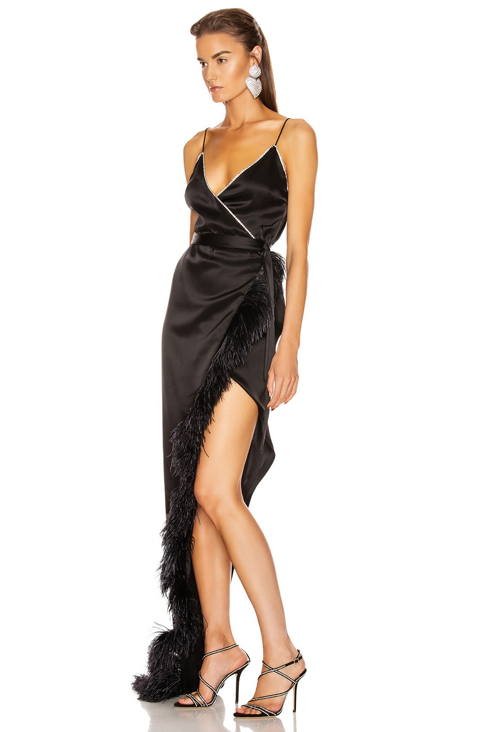 Image 3 of David Koma Crystal & Feather Asymmetric Wrap Gown in Black