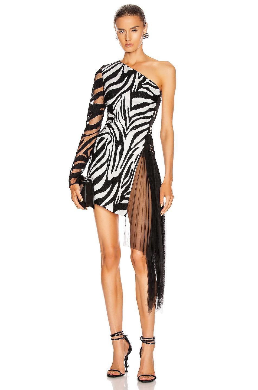 Image 1 of David Koma Zebra Macrame and Tulle One Shoulder Dress in White & Black