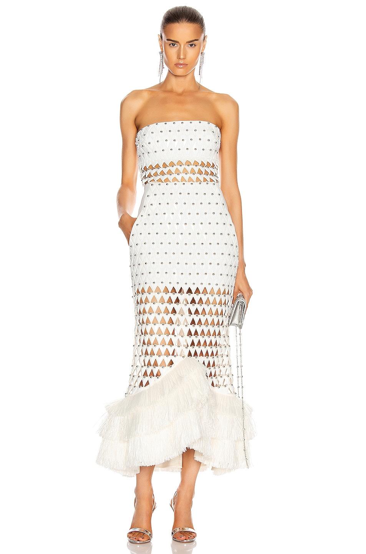 Image 1 of David Koma Plexi Triangle Strapless Flounce Dress in White