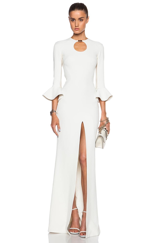 Image 1 of David Koma Short Peplum Sleeve Gown in Ivory