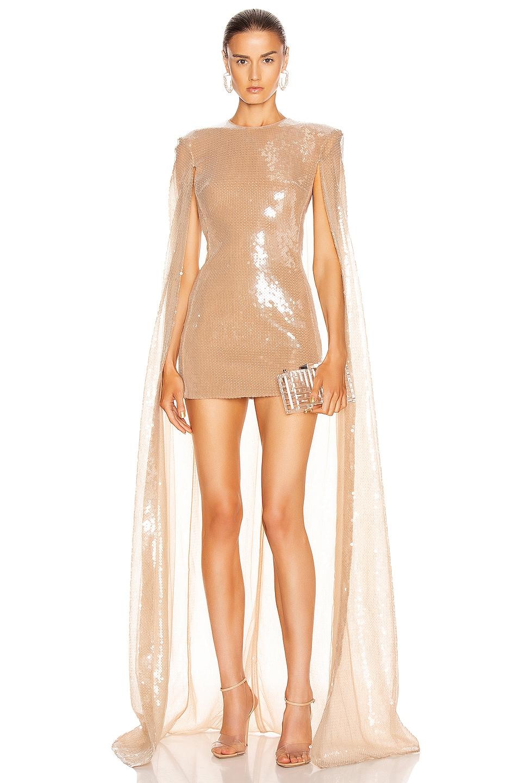 Image 1 of David Koma Sequin Long Cape Mini Dress in Nude