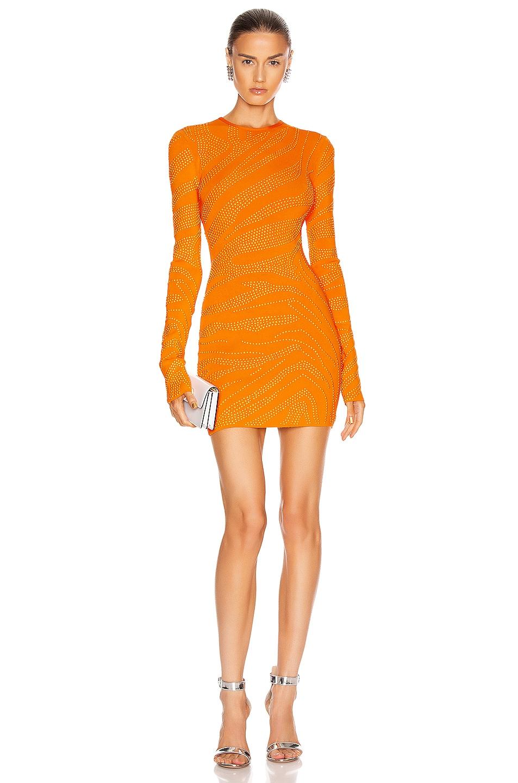 Image 1 of David Koma Studded Zebra Print Knit Dress in Orange