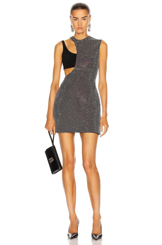 Image 1 of David Koma Crystal Mesh Overlay Mini Dress in Black & Multi