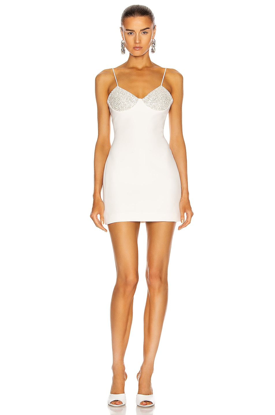 Image 1 of David Koma Shimmer Bra Mini Dress in White & Silver