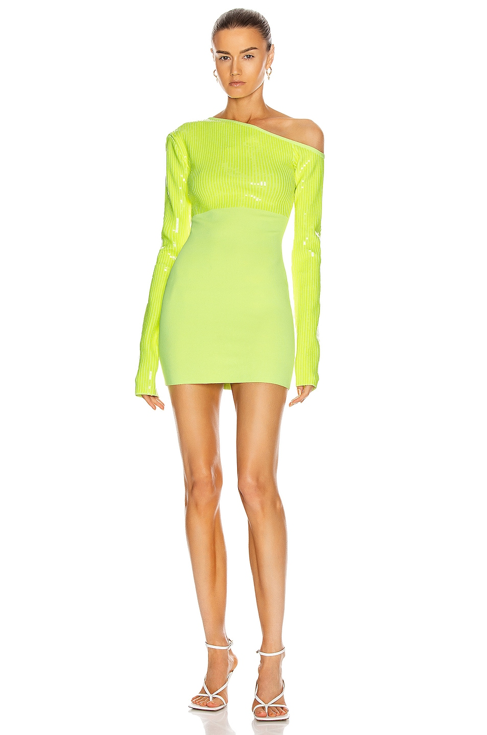 Image 1 of David Koma Sequin Asymmetric Shoulder Knit Mini Dress in Neon Yellow