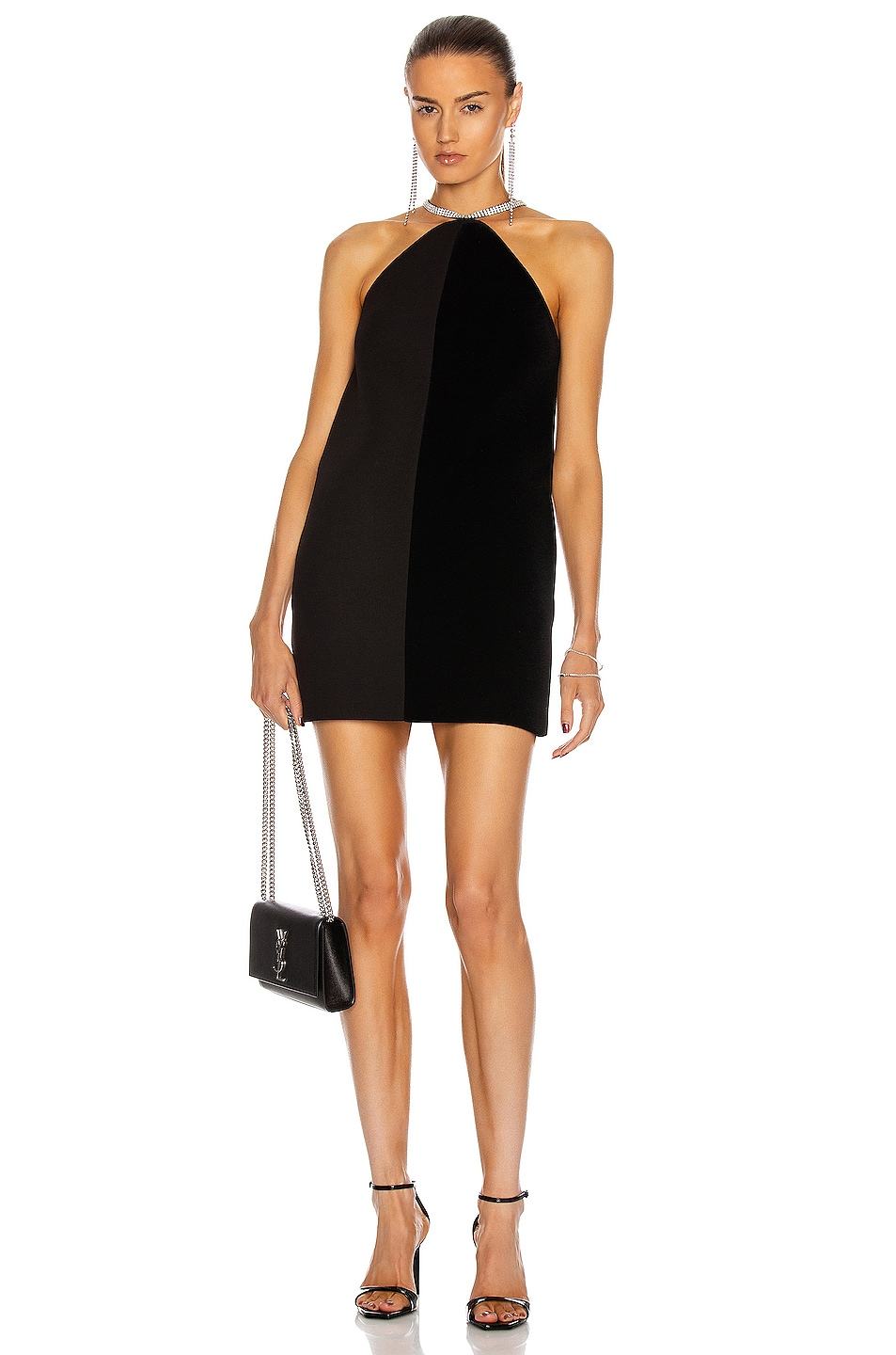 Image 1 of David Koma Crystal Chain Halter Neck Shift Dress in Black & Silver