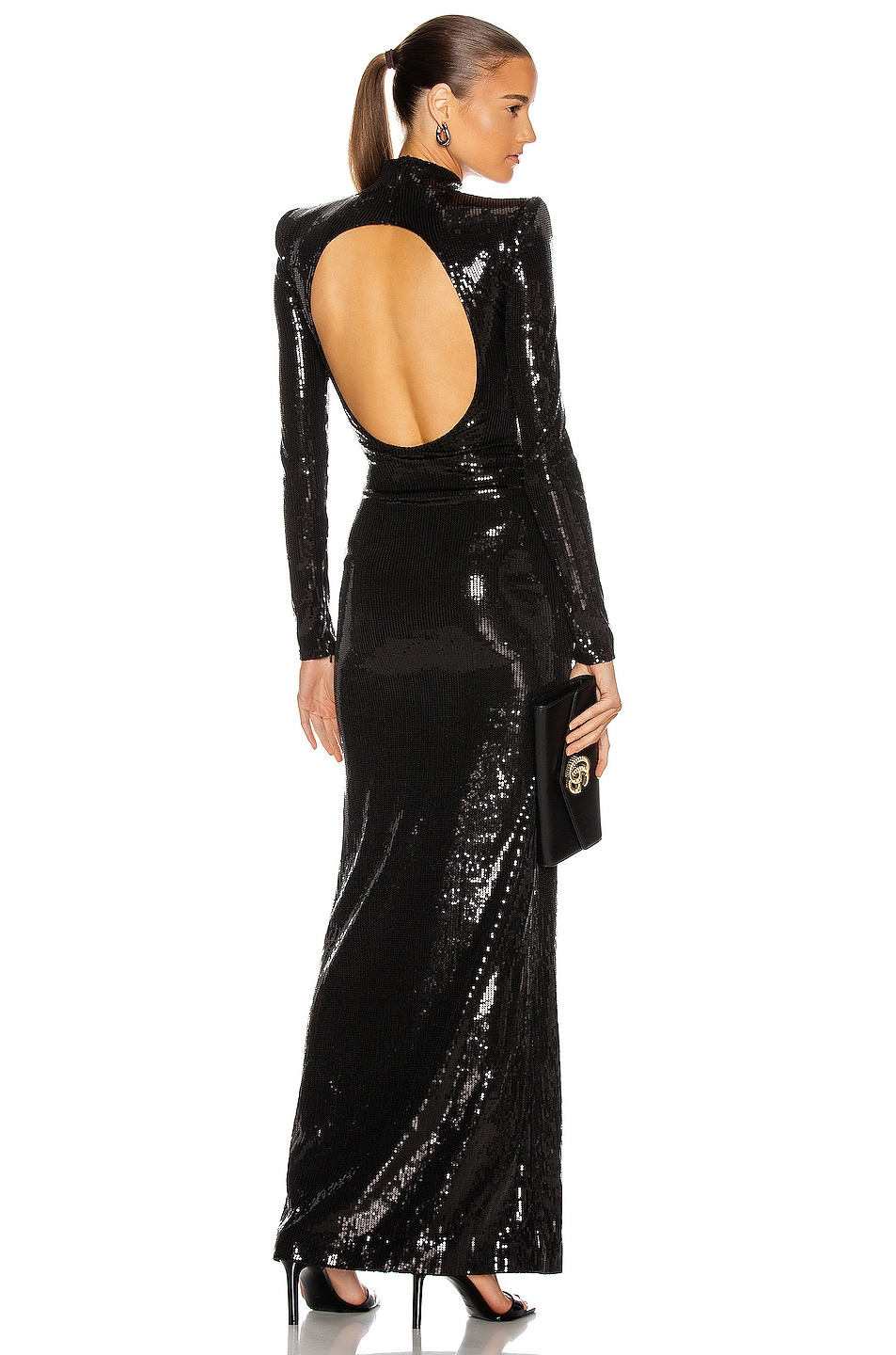 Image 1 of David Koma Open Back Sequin Gown in Black