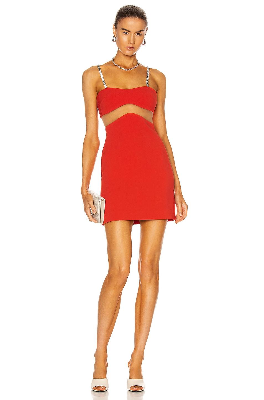 Image 1 of David Koma Linear Mesh Crystal Strap Mini Dress in Red