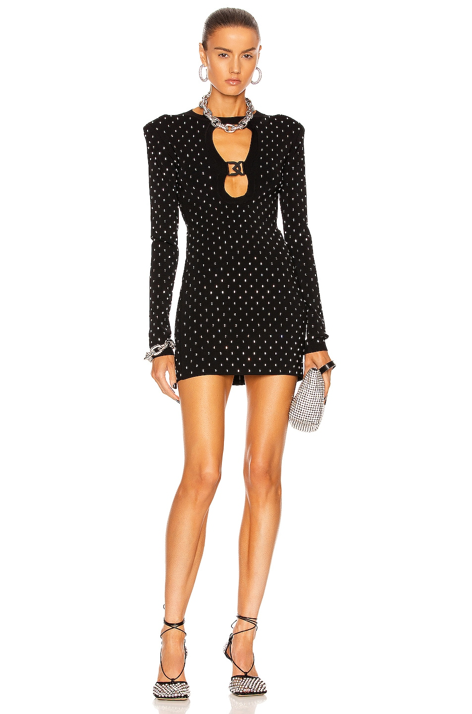 Image 1 of David Koma Crystal Embroidered Buckle Cutout Mini Dress in Black & Silver