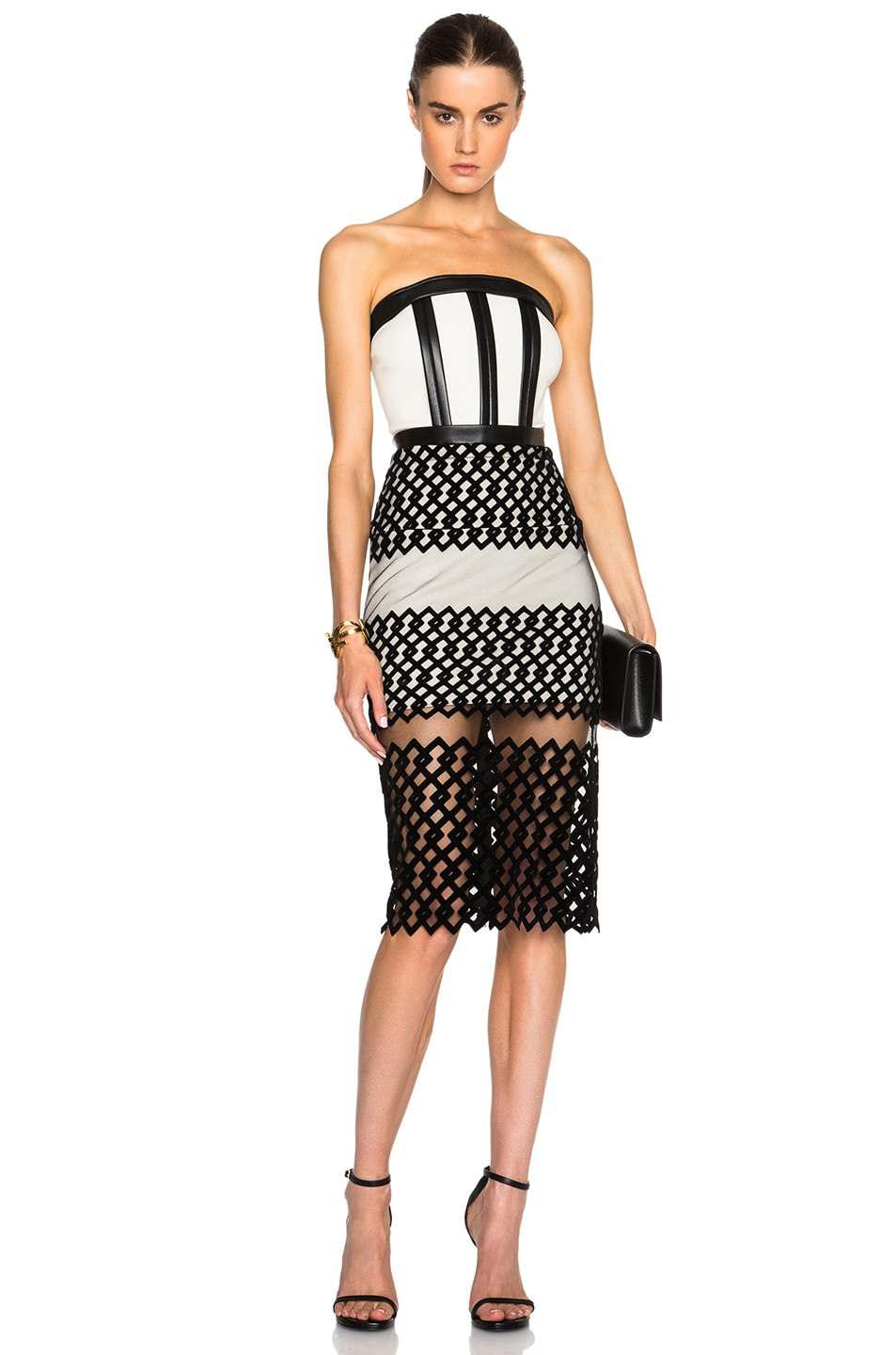 Image 1 of David Koma Strapless Poly Dress with Flocked Hem in Black & Ivory