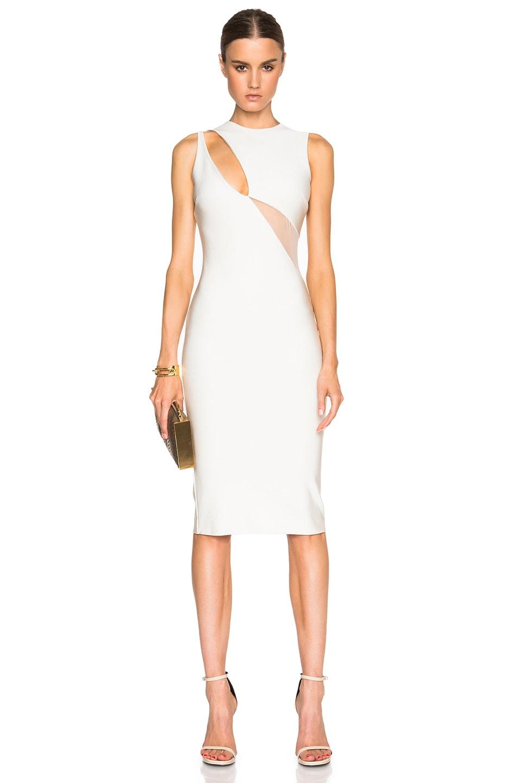 Image 1 of David Koma Asymmetric Cut Out Net Insert Dress in Ivory