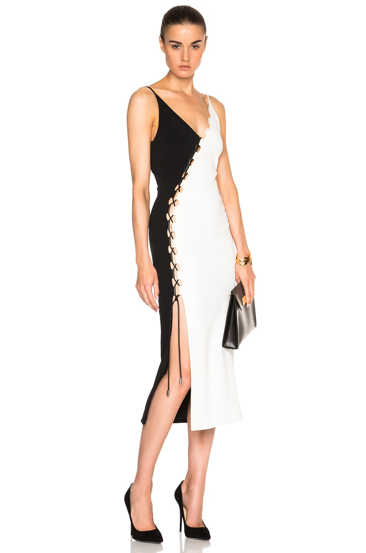Image 1 Of David Koma Laced Panel Dress In Black White