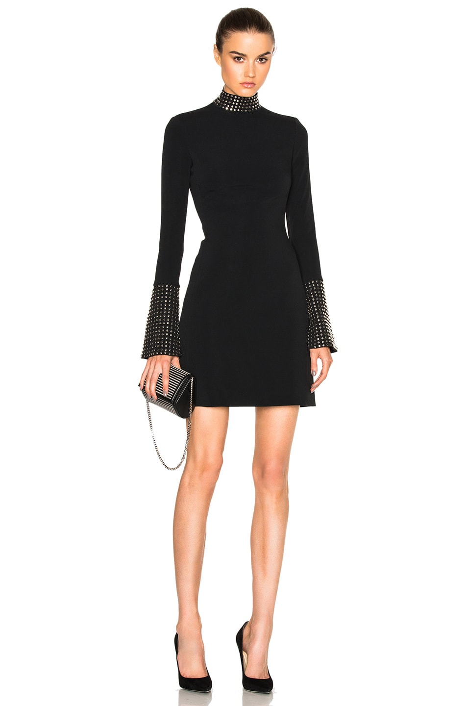 Image 1 of David Koma Metal Stud Collar Dress in Black & Silver