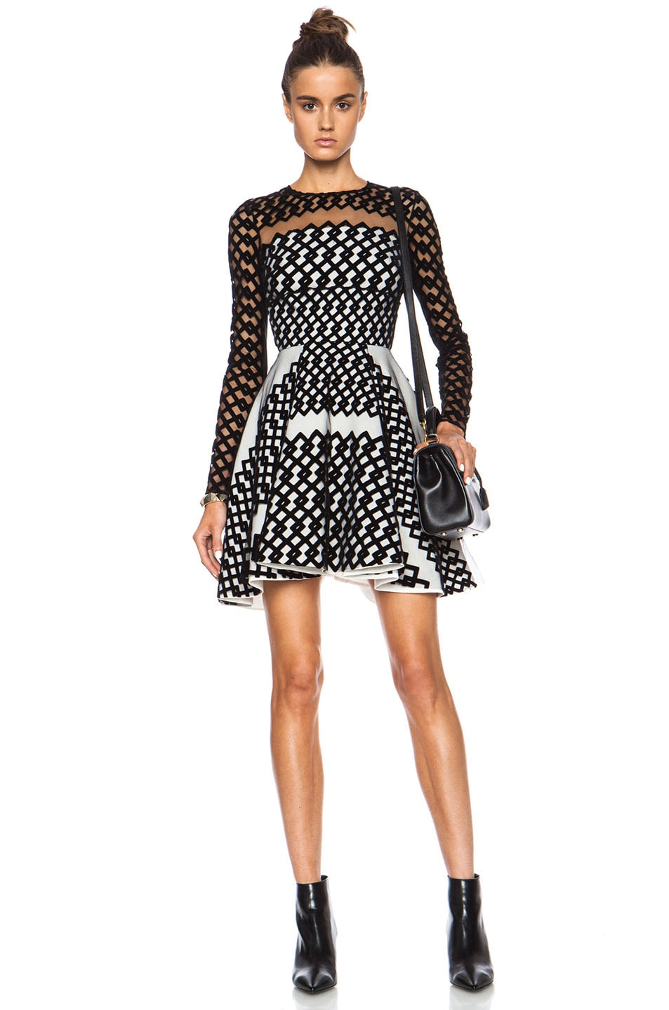 Image 1 of David Koma Flocked Contrast Underlayer Poly Dress in Black & Cream