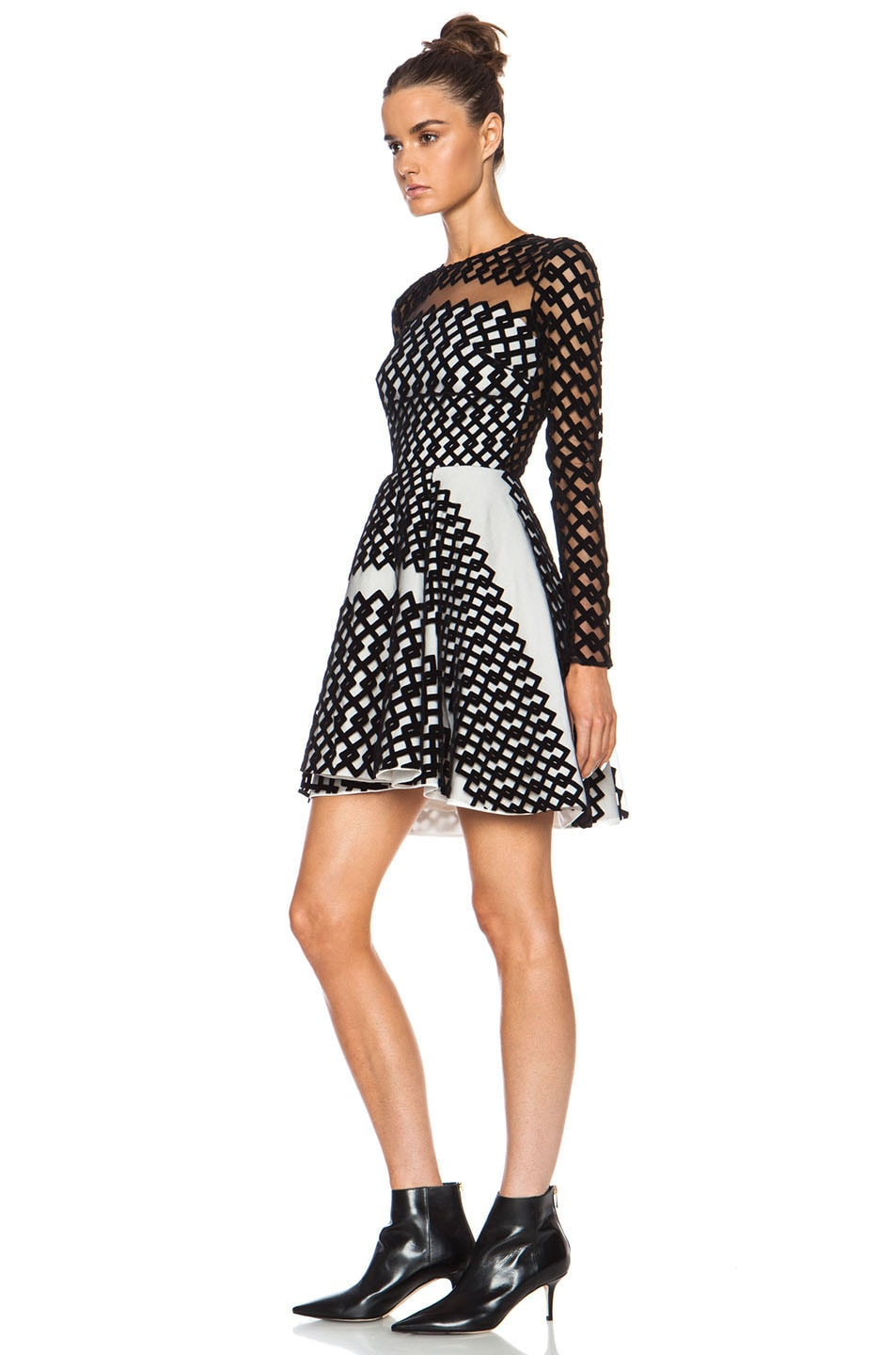 Image 2 of David Koma Flocked Contrast Underlayer Poly Dress in Black & Cream