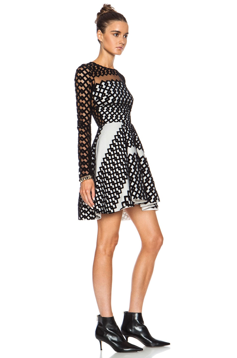 Image 3 of David Koma Flocked Contrast Underlayer Poly Dress in Black & Cream