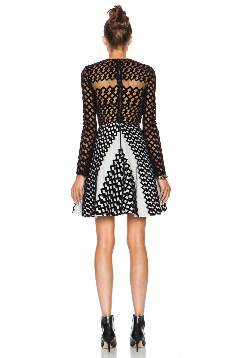 Image 4 of David Koma Flocked Contrast Underlayer Poly Dress in Black & Cream