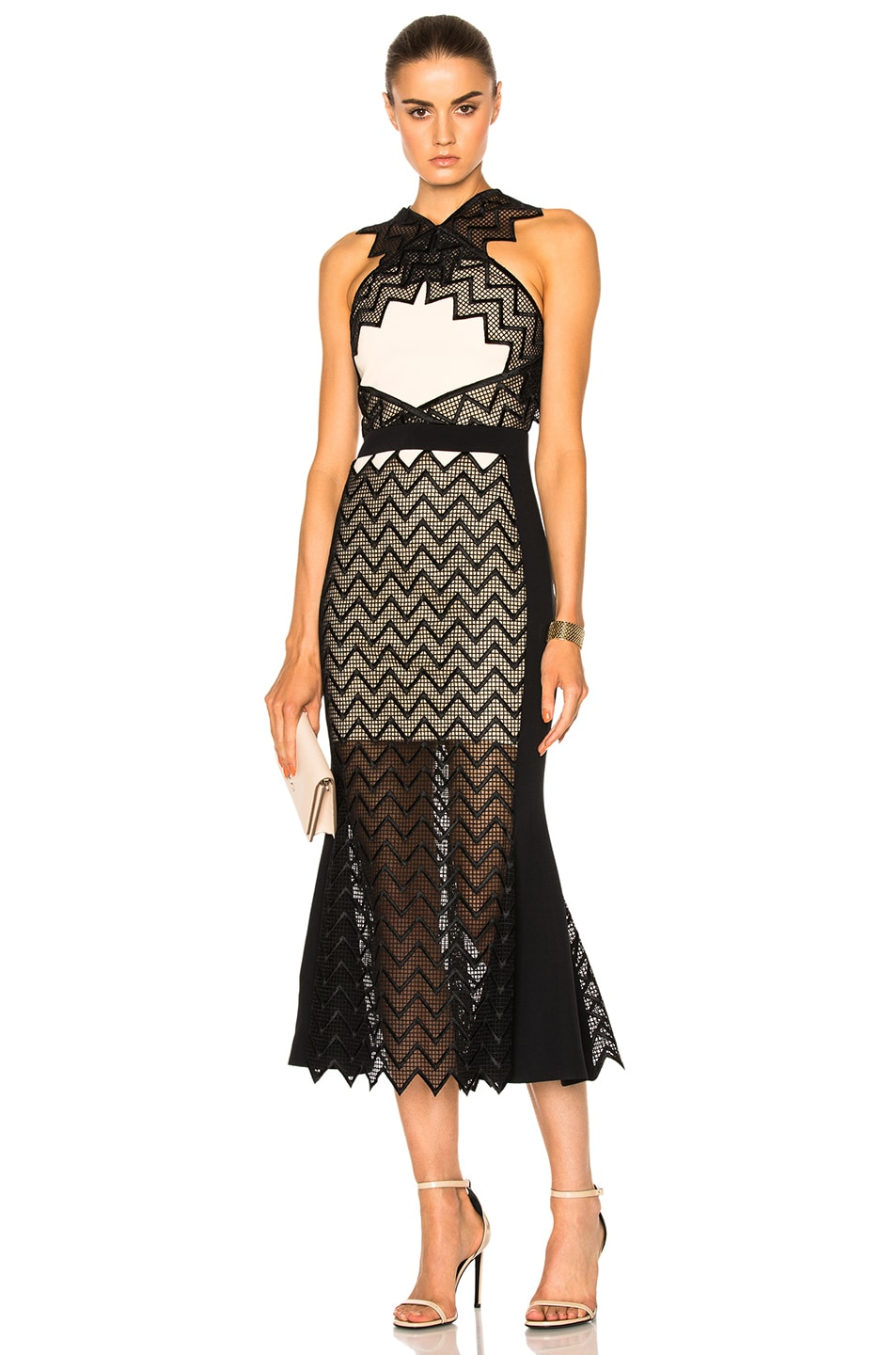 Image 1 of David Koma Zig Zag Macrame Midi Dress in Peach & Black