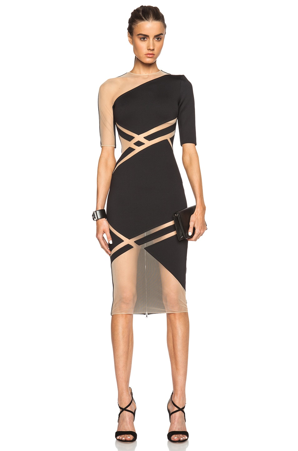 Image 1 of David Koma Net Line Insert Dress in Black