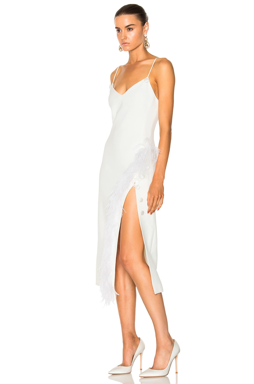 Image 3 Of David Koma Side Split Feather Trim Midi Dress In White