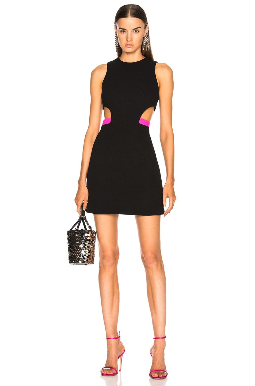 David Koma Side Waist Cutout Mini Dress in Black,Pink